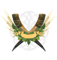 drinking viking horn two crossed drinking horns vector image