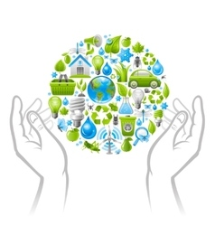 Ecological set with green icons on white vector image