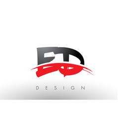 Ed e d brush logo letters with red and black vector