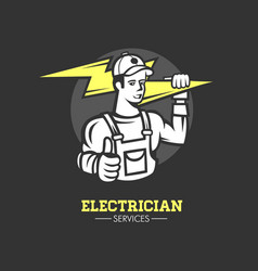 electrician man logo vector image