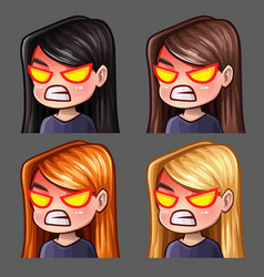 emotion icons rage female vector image