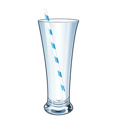 empty high and transparent glass with a tube vector image