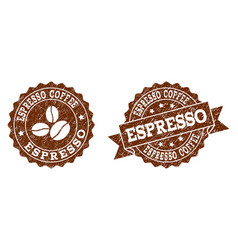 espresso coffee stamp seals with grunge texture in vector image