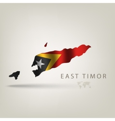 Flag east timor as a country with a shadow vector