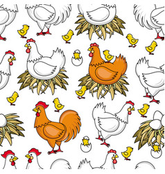 Flat chicken in nest chick seamless pattern vector