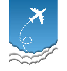 flying airplane on a background of blue sky and vector image