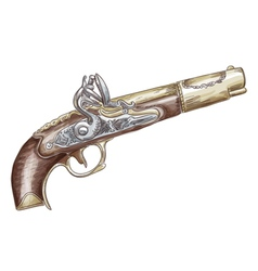 French flintlock antique pistol vector