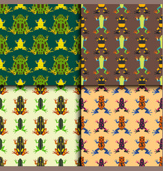 Frog cartoon tropical animal seamless pattern vector