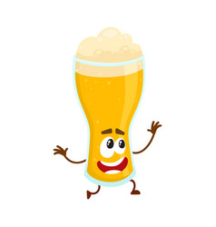 Funny beer glass character with smiling human face vector