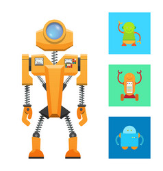 Futuristic machine concept yellow robot icon vector