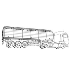 Gasoline tanker oil trailer truck on highway vector