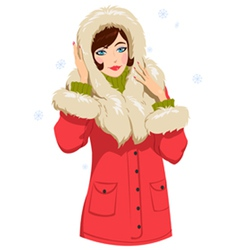 Girl in winter clothes vector
