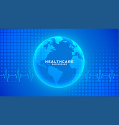 Global healthcare medical background blue color vector