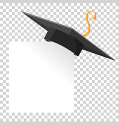 graduation cap or mortar board on paper corner vector image