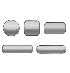 Gray buttons collection of matted shaped signs vector