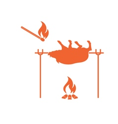 Grilled boar icon vector
