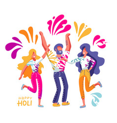 group young people celebrates holi men vector image