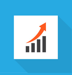 growing chart icon flat symbol premium quality vector image
