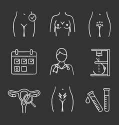 Gynecology chalk icons set vector