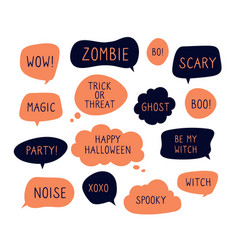 halloween speech bubbles trick or threat happy vector image