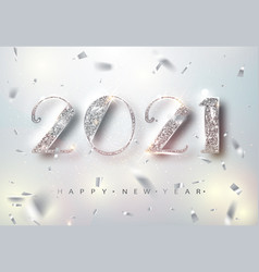 Happy new year 2021 greeting card with silver vector