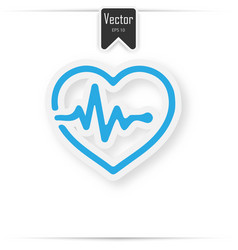 Heart pulse beat - blue icon with shadow vector