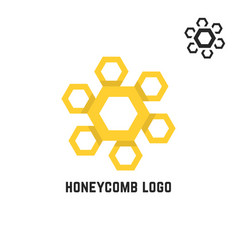 honeycomb yellow logo like sun vector image
