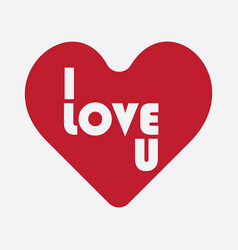 i love u heart for friendship and love ones vector image