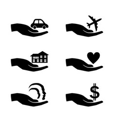 insurance hand icons set vector image
