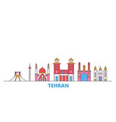 Iran tehran line cityscape flat travel vector