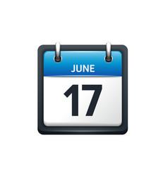 June 17 Calendar icon flat vector