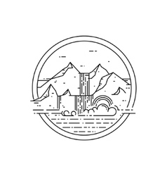 Line emblem with mountain landscape and vector