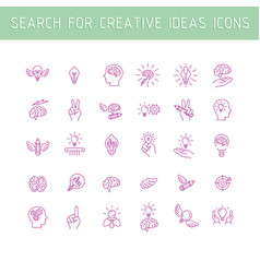 Line icons collection of human brain process vector