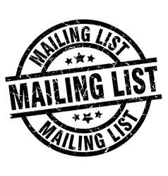 Mailing list round grunge black stamp vector