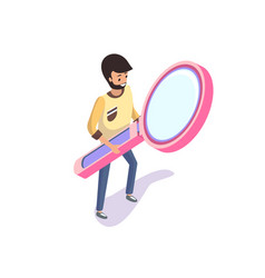 man holding big magnifying glass isolated 3d vector image