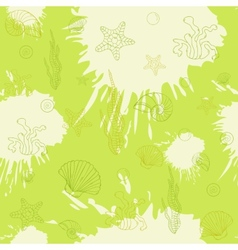 Marine algaeseamless pattern green vector image