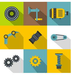 Mechanical gear icon set flat style vector