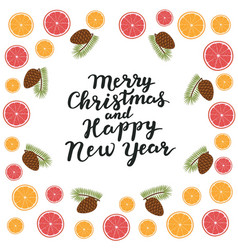 merry christmas and happy new year spruce vector image