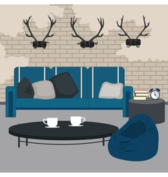 Modern Interior Living Room in Grunge Style Room vector image