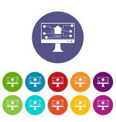 monitor chip icons set flat vector image