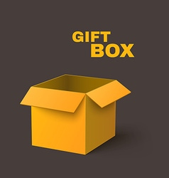 Open Yellow Box Isolated on Dark Background vector image