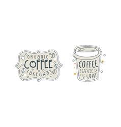 organic takeaway coffee hand drawn labels set vector image