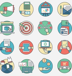 Outline set of business icons vector