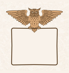 Owl with frame vector