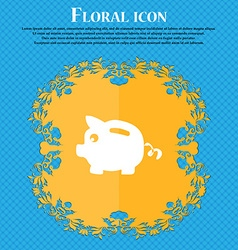 Piggy bank icon sign Floral flat design on a blue vector