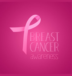 Pink silk ribbon breast cancer awareness banner vector