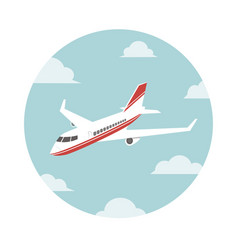 plane in sky in a circle vector image