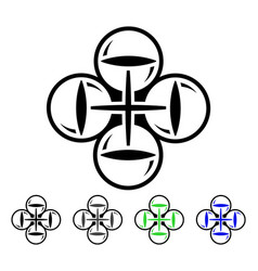 Quadcopter flight flat icon vector
