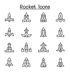 rocket spaceship spacecraft icon set in thin line vector image