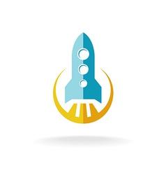 Rocket start flat style logo spaceship launch vector